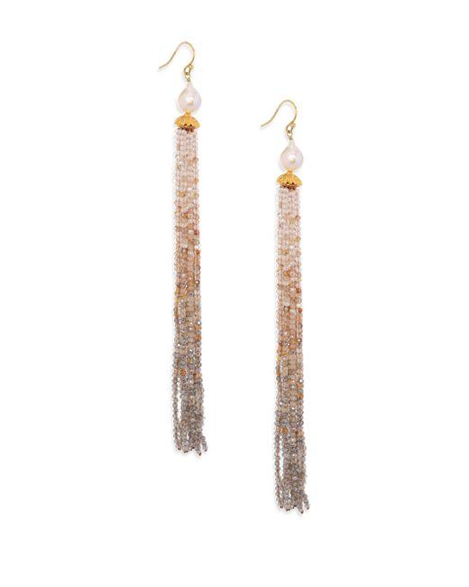 Chan Luu - Multicolor 8-9mm White Pearl & Golden Mix Fringe Earrings - Lyst