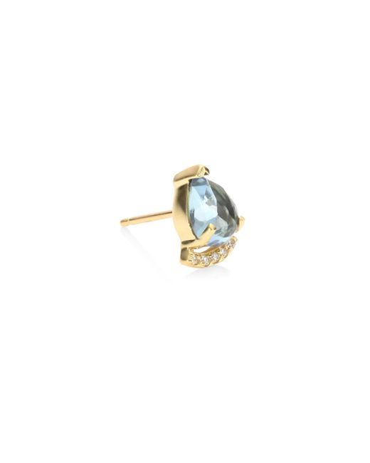 Paige Novick - Metallic Powerful Pretty Thigns Diamond & Aquamarine Single Stud Earring - Lyst