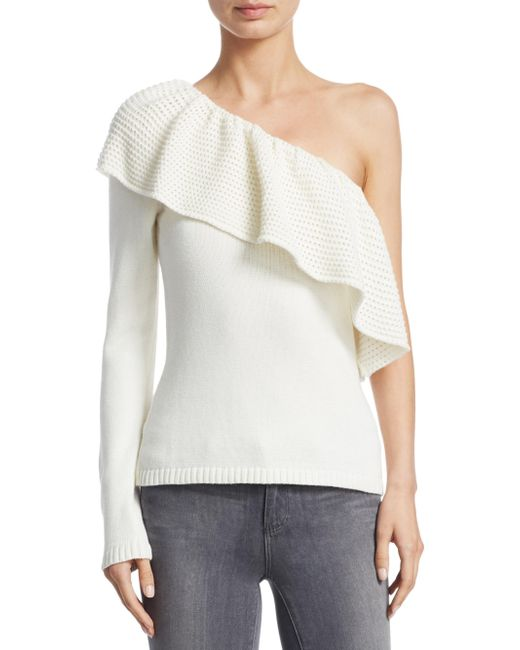 Ella Moss | Natural One-shoulder Knitted Sweater | Lyst