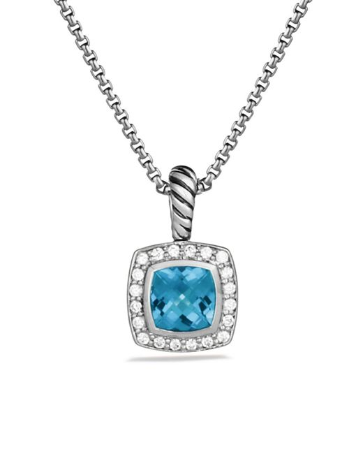 David Yurman - Blue Petite Albion Pendant With Diamonds On Chain - Lyst