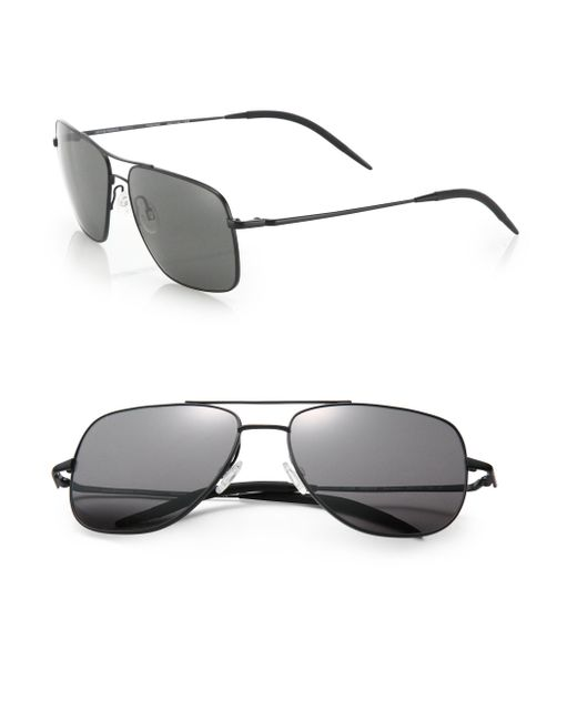 Oliver Peoples | Black Clifton 58mm Square Aviator Sunglasses for Men | Lyst