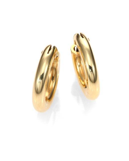 Roberto Coin - Metallic 18k Yellow Gold Petite Oval Hoop Earrings/0.75 - Lyst