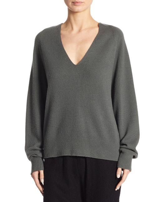 Vince | Gray Deep V-neck Raglan Cashmere Sweater | Lyst