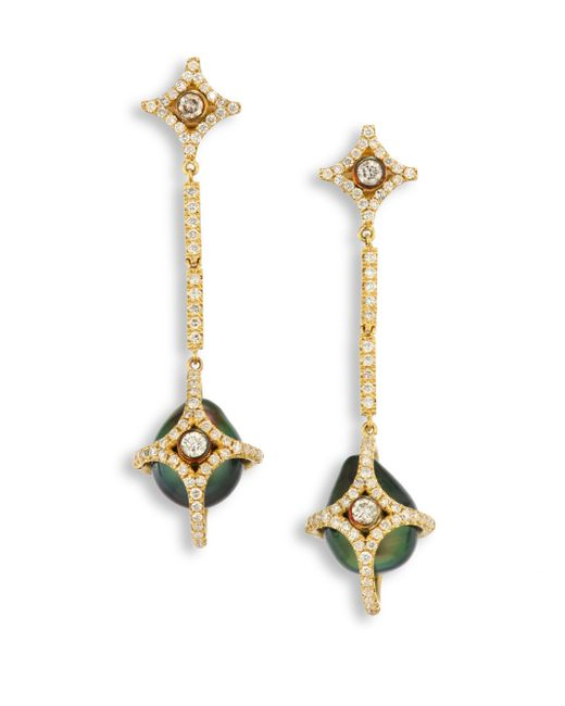 Jordan Alexander | Metallic Diamond, 10mm Tahitian Pearl & 18k Yellow Gold Caged Drop Earrings | Lyst