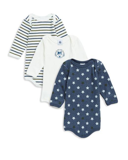 Petit Bateau | Blue Baby Boy's Three-piece Cotton Bodysuit Set | Lyst
