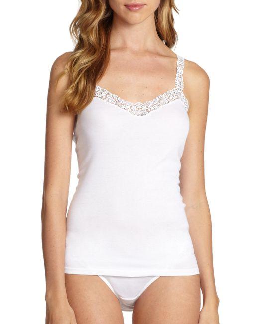 Hanro - White Delicate Lace & Cotton Camisole - Lyst