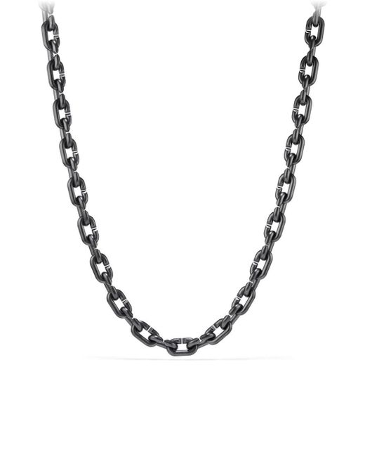 David Yurman - Metallic Chain Link & Black Titanium Narrow Necklace for Men - Lyst
