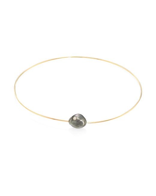 Mizuki | Metallic Diamond, 14mm White Baroque Tahitian Pearl & 14k Yellow Gold Collar Necklace | Lyst