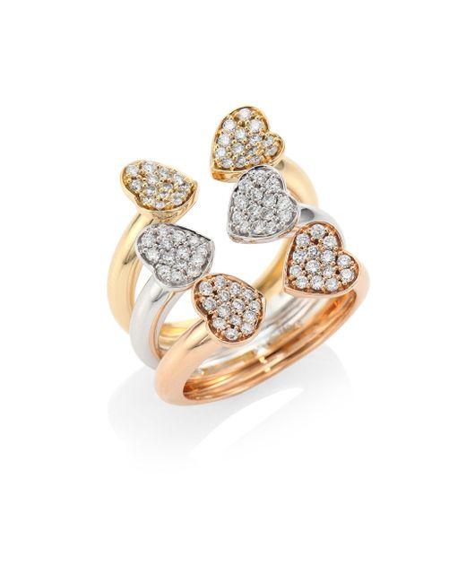 Hueb | Metallic Hearts Diamond & 18k Tri-tone Gold Open Ring | Lyst