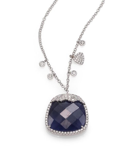 Meira T - Sapphire, Diamond & 14k White Gold Pendant Necklace - Lyst