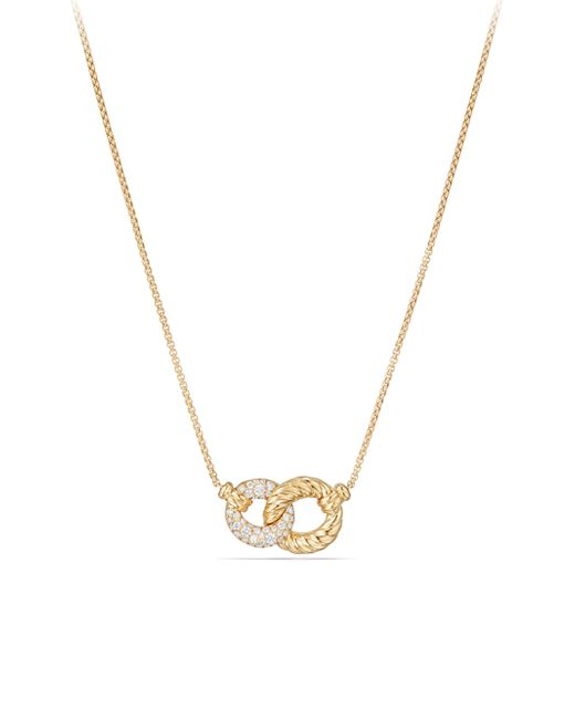 David Yurman - Metallic Belmont Extra-small Double Curb Link Necklace With Diamonds In 18k Gold - Lyst