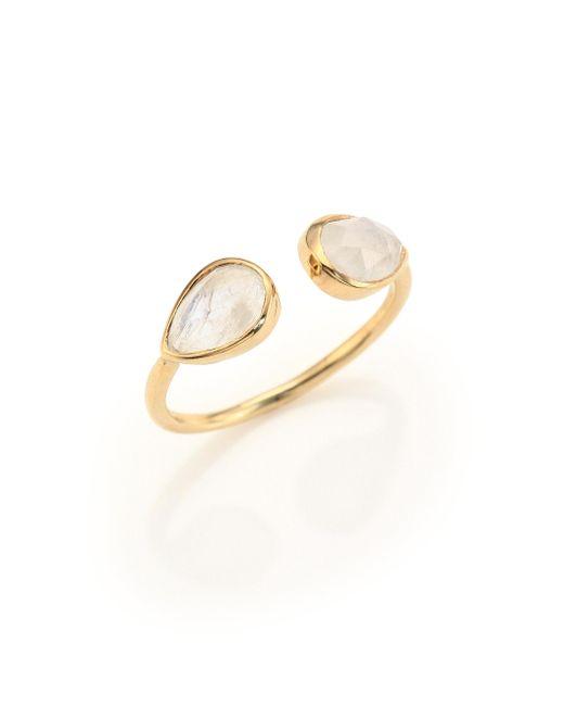 Jacquie Aiche - Metallic Double Teardrop Moonstone & 14k Yellow Gold Cuff Ring - Lyst