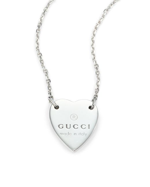 Gucci - Metallic Sterling Silver Signature Heart Pendant Necklace - Lyst