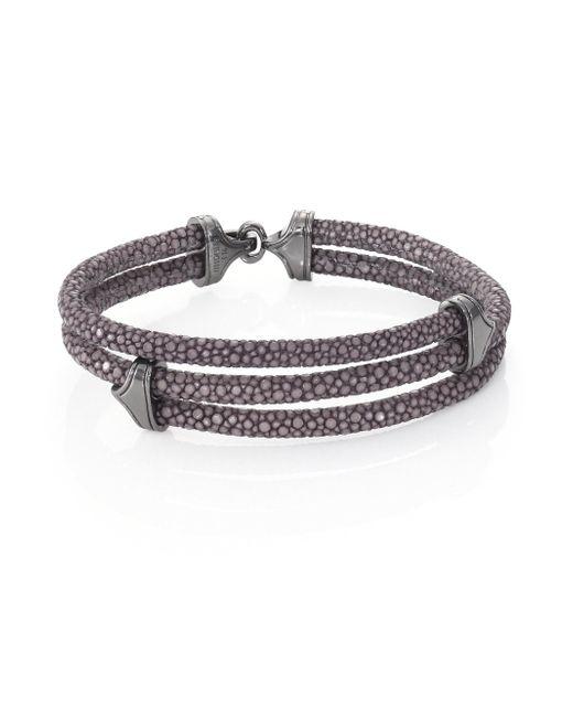 Stinghd - Blackened Silver & Stingray Triangle Wrap Bracelet for Men - Lyst