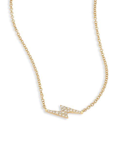 EF Collection   Metallic Lightning Bolt Diamond & 14k Yellow Gold Pendant Necklace   Lyst