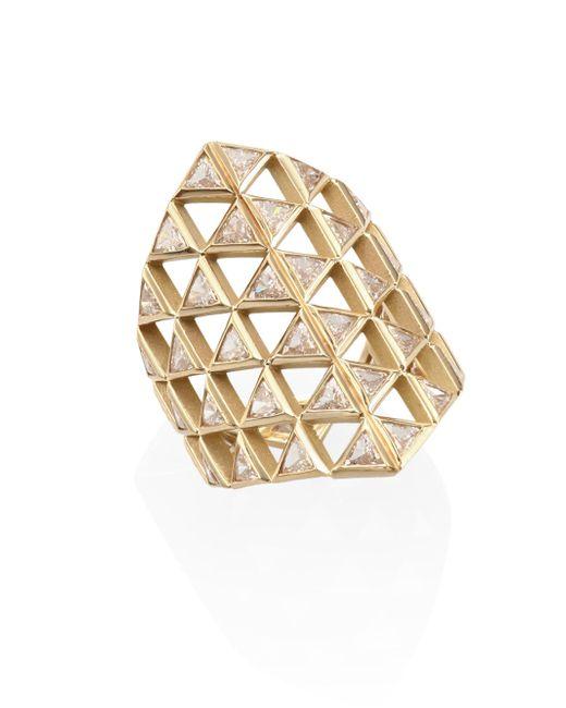 Melissa Kaye   Metallic Chloe Diamond & 18k Yellow Gold Shield Ring   Lyst