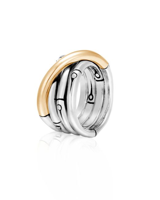 John Hardy - Metallic Bamboo 18k Yellow Gold & Sterling Silver Band Ring - Lyst
