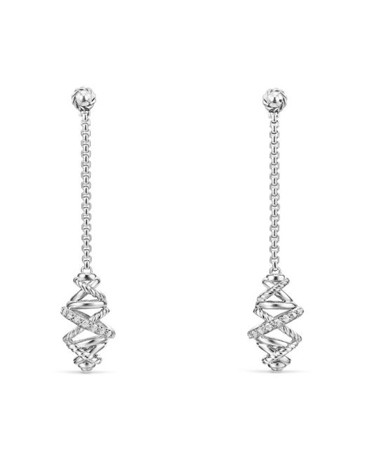 David Yurman | Metallic Crossover Chain Drop Earrings With Diamonds | Lyst