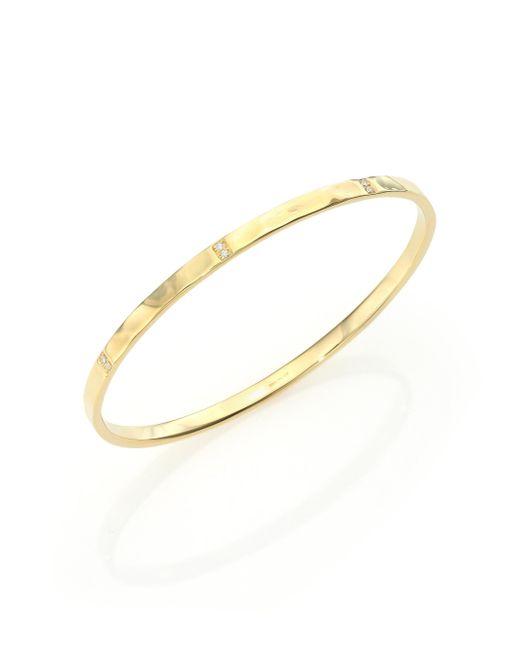 Ippolita   Metallic Glamazon Diamond & 18k Yellow Gold Hammered Bangle Bracelet   Lyst