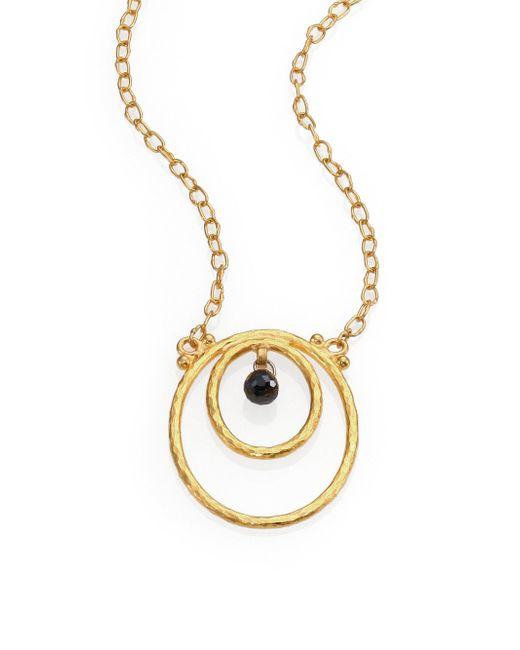 Gurhan | Metallic Hoopla Black Diamond & 24k Yellow Gold Pendant Necklace | Lyst