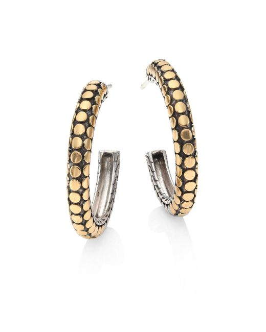 John Hardy - Metallic Dot 18k Yellow Gold & Sterling Silver Hoop Earrings/1 - Lyst