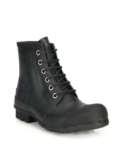 Hunter - Black Quilted Lace-up All-weather Boots for Men - Lyst