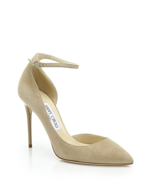 Jimmy Choo | Natural Lucy 100 Suede Ankle-strap Pumps | Lyst