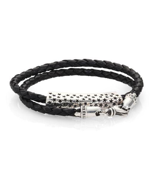 King Baby Studio - Black Stars Double-wrap Leather Bracelet - Lyst