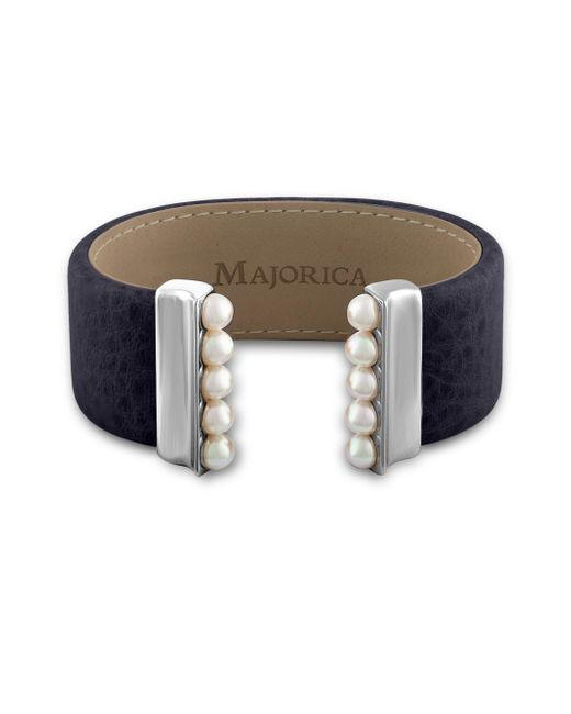 Majorica - Blue New Isla 5mm Organic Pearl & Leather Open Bangle/navy - Lyst
