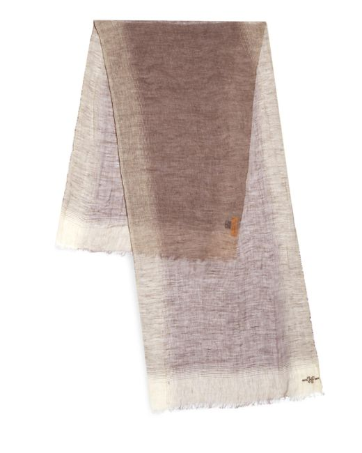 Hickey Freeman - Brown Linen Border Striped Scarf for Men - Lyst