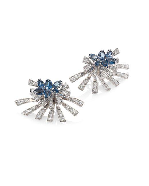 Hueb - Mirage Diamond & London Blue Topaz Stud & Ear Jacket Set - Lyst