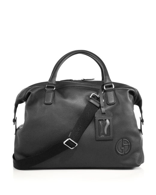 Giorgio Armani | Black Leather Holdall for Men | Lyst