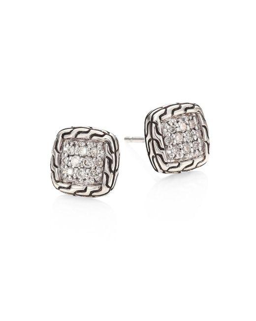 John Hardy - Metallic Classic Chain Diamond & Sterling Silver Stud Earrings - Lyst