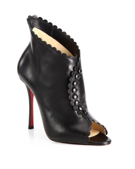 Christian Louboutin | Black Deguise 100 Scalloped Leather Peep-toe Booties | Lyst