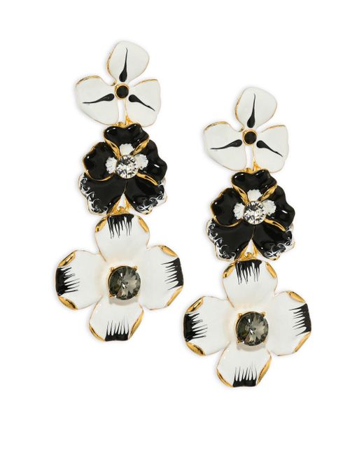 Kenneth Jay Lane - Black Enamel Flower Drop Earrings - Lyst