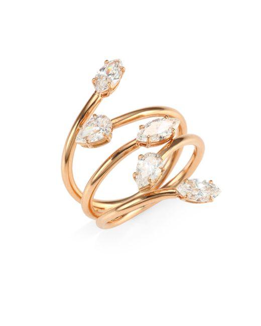 Anita Ko - Metallic 18k Rose Gold & Diamond Vine Ring - Lyst
