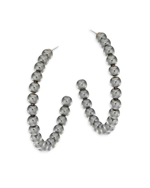 Lele Sadoughi - Metallic Concrete Jungle Faux-pearl Hoop Earrings/1.5 - Lyst