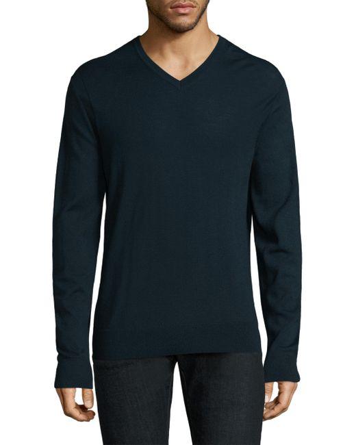 Michael Kors | Blue Merino Wool V-neck Sweater for Men | Lyst