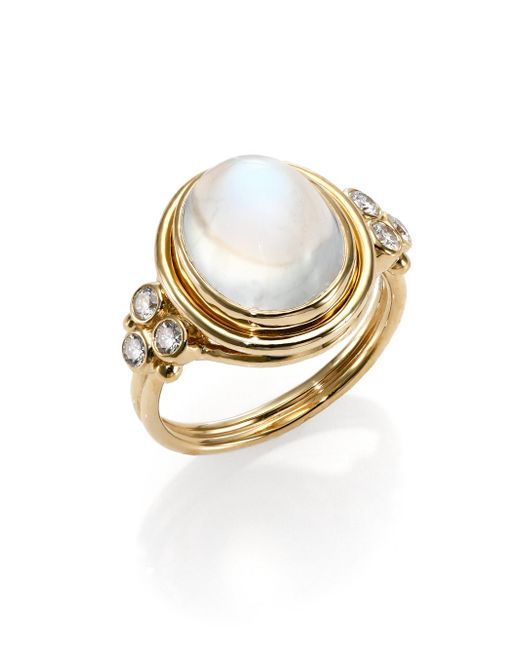 Temple St. Clair | Metallic Royal Blue Moonstone, Diamond & 18k Yellow Gold Oval Ring | Lyst