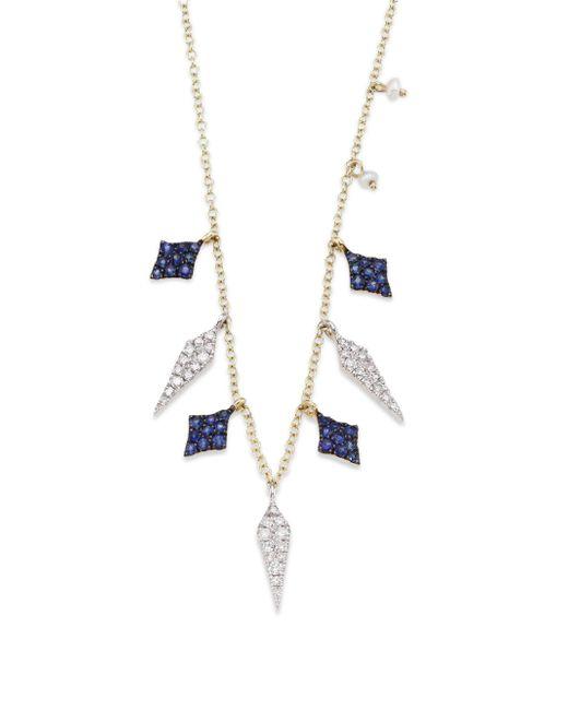 Meira T   Metallic Diamond, Blue Sapphire & 14k Yellow Gold Necklace   Lyst