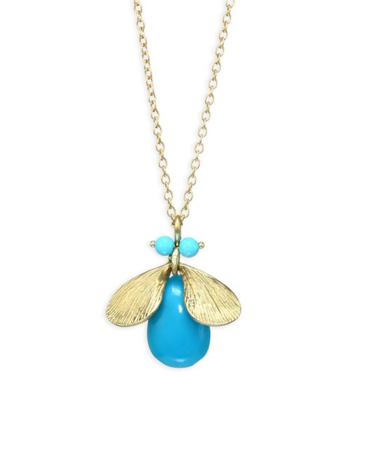 Annette Ferdinandsen - Metallic Fauna Jeweled Bug Natural Turquoise & 14k Yellow Gold Necklace - Lyst