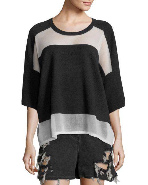 Public School | Black Lati Knit Colorblock Sweater | Lyst