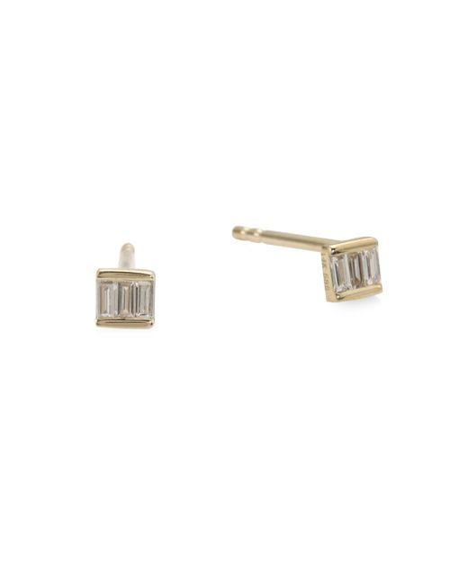 EF Collection | Metallic Diamond Mini Baguette Stud Earrings | Lyst