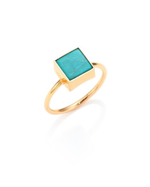 Ginette NY | Blue Wise Ever Turquoise & 18k Rose Gold Square Ring | Lyst