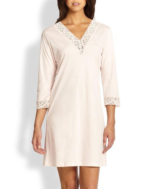 Hanro - Pink Moments Three-quarter Sleeve Sleepshirt - Lyst