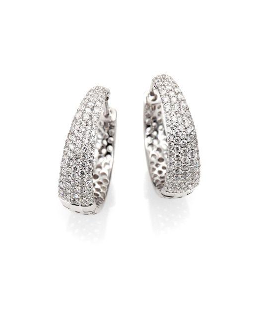 Roberto Coin - Scalare Diamond & 18k White Gold Hoop Earrings/0.75 - Lyst