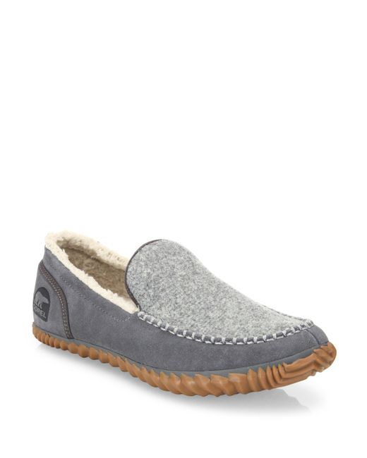 Sorel | Gray Dude Leather Suede Loafers for Men | Lyst