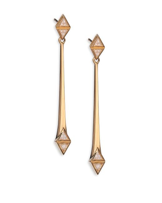 Melissa Kaye - Metallic Chloe May Diamond & 18k Yellow Gold Drop Earrings - Lyst