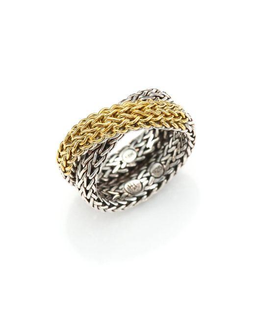 John Hardy | Metallic Classic Chain 18k Yellow Gold & Sterling Silver Ring | Lyst