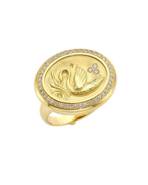 Temple St. Clair - Metallic Swan Diamond & 18k Yellow Gold Coin Ring - Lyst